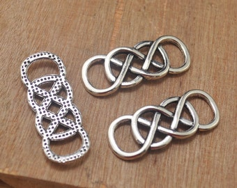 20pcs Celtic Knot Connector Charms,Celtic knot Charms pendant,8 Connector,Antique Silver Tone Double Infinity--32x12mm