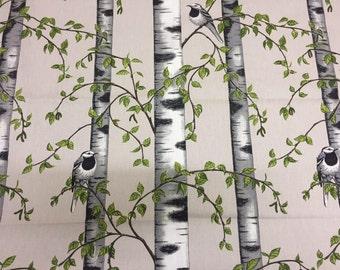 Fabric, White Black Birch, White Black Birds, Green leaves