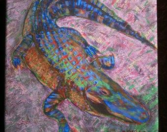 New Orleans Gator Portrait by French Quarter Artist Ginger
