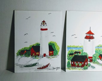 Twin Lighthouses watercolor Original painting