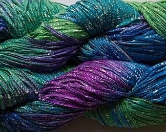 Bamboo Tape Ribbon 150 yds, Hand dyed yarn - Iris