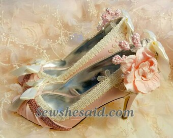 Marie Antoinette Heels, Wedding, Rococo Heels Size 9