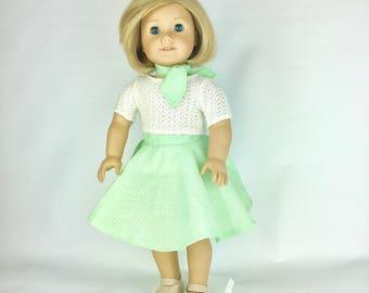 Mint Circle Skirt - 18 Inch Doll Clothes, AG Doll Skirt, Handmade Polka Dot Skirt for American Girl or Our Generation Doll