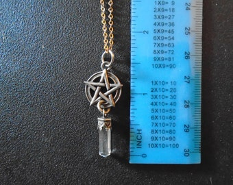 Pentacle with Crystal Pendant Necklace