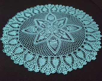 Crochet doily - Round doilies - Large doily - Blue doily - Home decor - Crochet doilies