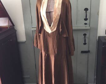 Vintage 1920's brown silk drop waist dress