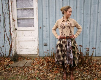 Embroidered Country Western Corduroy Plaid Flannel Shirt Dress// Large// emmevielle