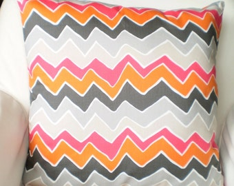 Orange Gray Pink White Chevron Pillow Covers, Decorative Throw Pillows Cushions Orange Grey Pink White Zig Zag See Saw Couch Bed, ALL SIZES