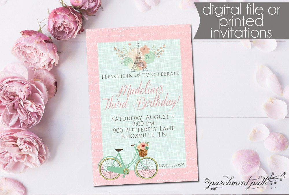 Paris Birthday Invitation French Floral Bicycle Printable