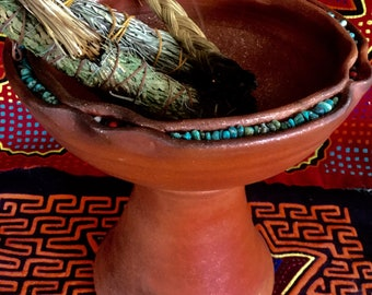 Mica Copalero with Turquoise for Burning Bowl Rituals and Shamanic Ceremony Mica Clay from New Mexico