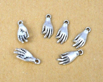 set of 6 Silver Anatomy charm hands human 15mm