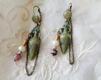 Amphora earrings, Stud dangling Rhodonite, Zen earrings