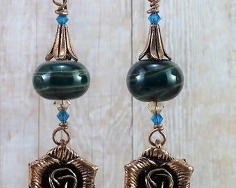 Lampwork and Swarovski Crystal Copper Rose Earrings on Niobium Ear Wires