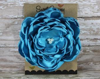 34 Colors Large Satin Flower Pin, Turquoise Satin Flower Pin