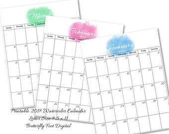 2018 Printable Calendar, Watercolor Calendar, Letter Size, Monthly Planner, Instant Download