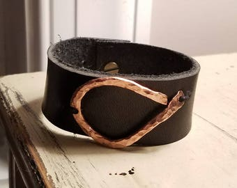 Handmade copper and leather cuff
