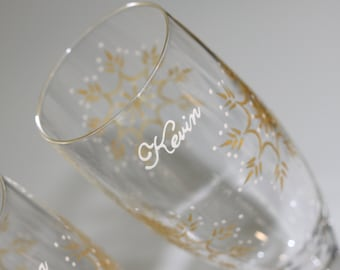 Snowflake Wedding Toasting Flutes, Champagne Glasses, Bride, Groom, Mr., Mrs., Personalized, Dated, Custom, Gold, Ivory