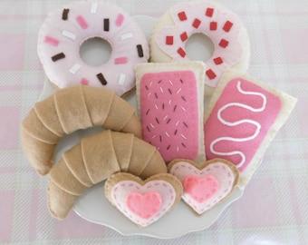 Tea for Two Pink Felt Tea Party Set, Pretend Donuts, Cookies, Pastries, Pop Tarts, & Crossaints