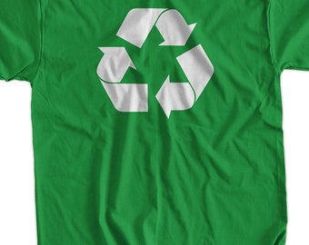 Recycle Screen Printed T-Shirt Tee Shirt T Shirt Mens Ladies Womens Youth Kids Funny Green Living Geek