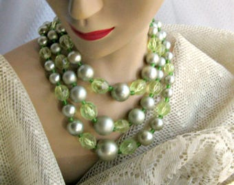 Signed Japan Necklace 3 Strand Choker Vintage 50s Green Beaded Jewelry Free Shipping U.S.