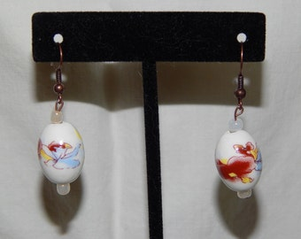 Floral and White Bead Earrings