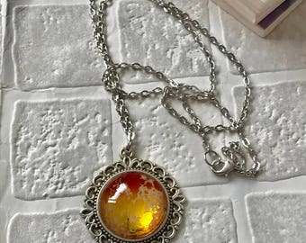 Cork and glass cabochon necklace | Cork fabric pendant |  Portuguese cork | Statement jewellery