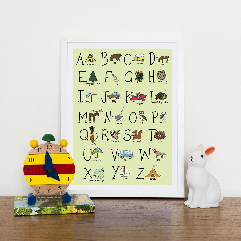 Adventure Alphabet Nursery Wall Art Woodland Print Camping