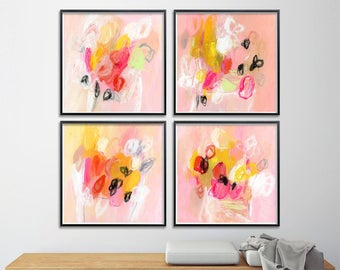 Set of Four Giclee Prints from Abstract Floral Paintings. 8x8 Pink flowers nursery art by Duealberi