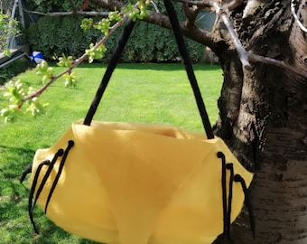 Yellow handmade felted bag