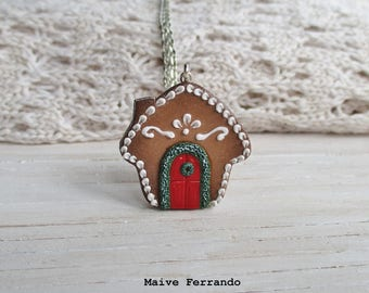 Gingerbread House Necklace, Polymer Clay Jewelry Accessories Handmade
