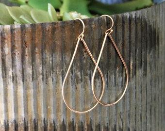 14k Gold Filled Hammered Teardrop Earrings - Everyday Jewelry - Sterling Silver Earrings - Women's Jewelry