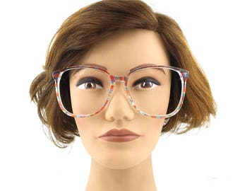 oversize. eyeglasses. round. for women. women. eyeglass frames. color block. checkered. multicolor. eye glasses. unisex. red. blue.