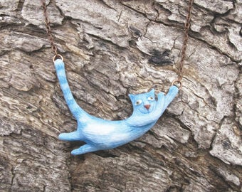 Sky Cat Necklace - Cat in Clouds - Flying Cat Necklace - Blue Cat Necklace - Cloud Cat - Blue Cat Jewelry - Sky Gift - Blue Animal Necklace
