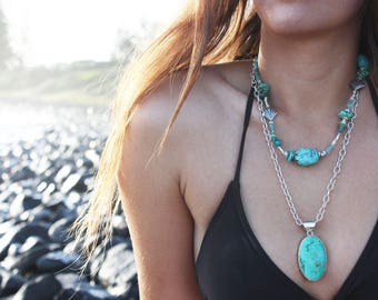 Gorgeous Chunky Natural Turquoise, Apatite, Fluorite Necklace with Thai Hill Tribe and Sterling Silver Beads - Handmade Jewelry