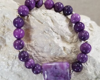Purple Quartzite gemstone bracelet
