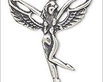 Adorable Sterling Silver Fairy Bead Pendant Charm 25x20mm 1pc