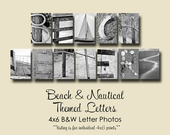 Beach Themed Letter Photos ,  Individual 4x6 BW Alphabet Photography, letters from the beach, nautical letters