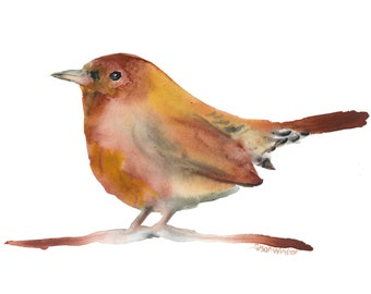 Wren 2 Watercolor Painting - 6x4 Giclee Reproduction Fine Art Print - Nursery Art - Woodland Animals Nature Painting