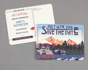 The Hideout Lodge Kirkwood California Save the Date Postcards