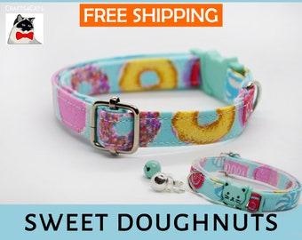 Breakaway cat collar,Sweet Doughnuts,cat collar, donuts collar, kitten collar, cat collar with bell, mint cat collar,blue,silver,Crafts4Cats