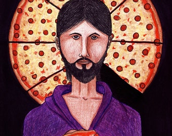 The Pizza Christ Fine Art DRAWING
