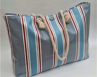 Extra large beach bag/Tote in luxury oilcloth nautical stripe, 100% waterproof and wipe clean, Beach bag, Beach tote, Wedding Gift, Oilcloth