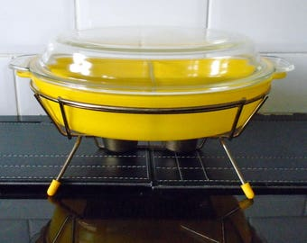 Phoenix Pyrex Sprayware Sunflower Yellow Rare Lidded Divided Dish complete with stand 1950's Pyrex