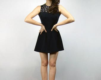 Sheer Black Mini Dress Vintage 90s Rhinestone Party Dress - Extra Small to Small XS S