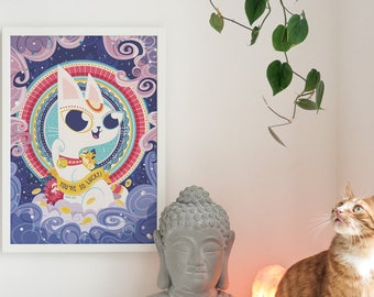 MANEKI NEKO PRINT • Vector Illustration • Zen decor, Cat, Mythology, Amulet, Wall Art, Faith, Eastern, Japanese, Cat lover