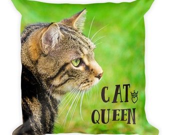 Cat Mom Pillow, Mothers Day Gift, Kitty Queen Decor, Kitten Pet Lover Mum, Animal Photo Cover with Insert for Her, Sister, Daughter, Aunt