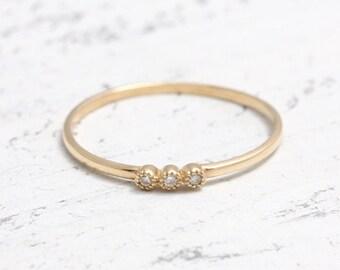 Triple Natural Diamond Solid Gold Thin Band Ring