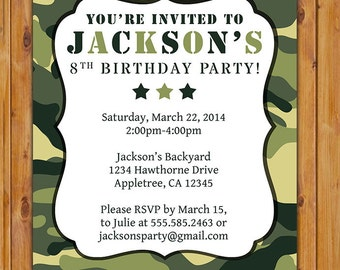 Vert Camo Invitation anniversaire / Camo personnalisé inviter / vert Camouflage 8e 9e anniversaire Invite - inviter de fichier JPG imprimable (177)