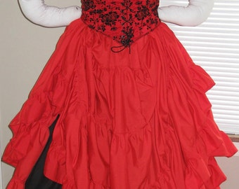 DDNJ Choose Fabrics Reversible CorsetStyle Bodice Chemise Skirts 4pc Plus Custom Made ANY Size Pirate Anime Wench Lolita Renaissance Costume