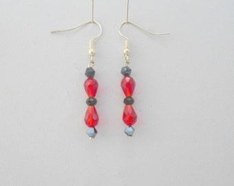Red Black crystal Earrings,  Sterling Silver Earrings, Crystal jewelry, crystal drop earrings, red dangle earrings, beaded crystal earrings
